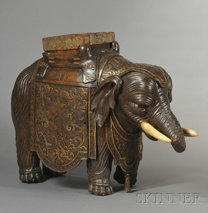 English Elephant-form Carved Hardwood Cellarette
