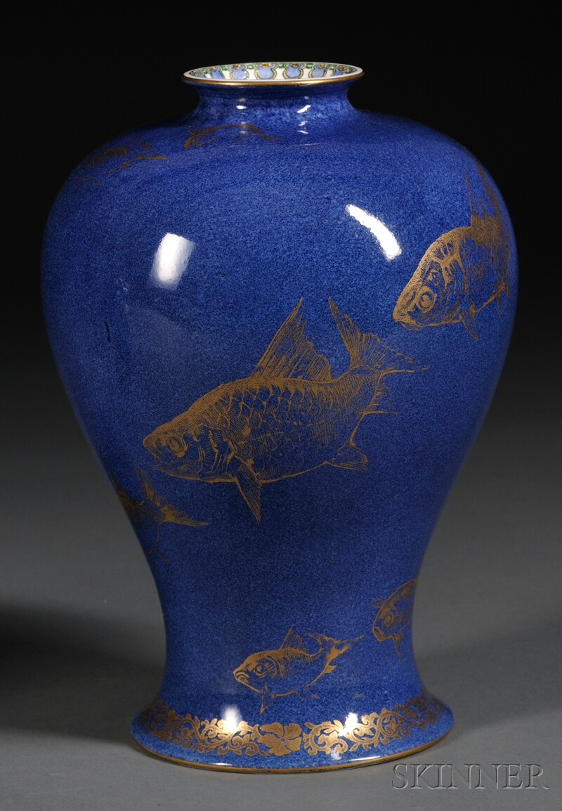 Wedgwood Powder Blue Lustre Fish Vase