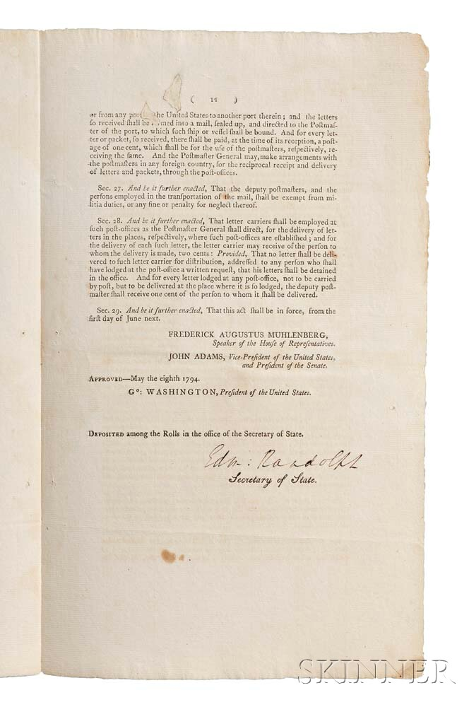 UnitedStates, SecondCongress, 1st Session:1791-1792,House Bill. An Act to Establish the Post-Office and Post-Roads Within the Unite