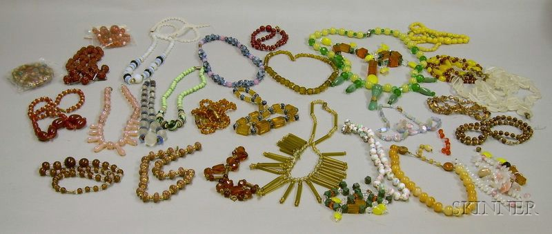 Group of Assorted Glass Bead Necklaces.