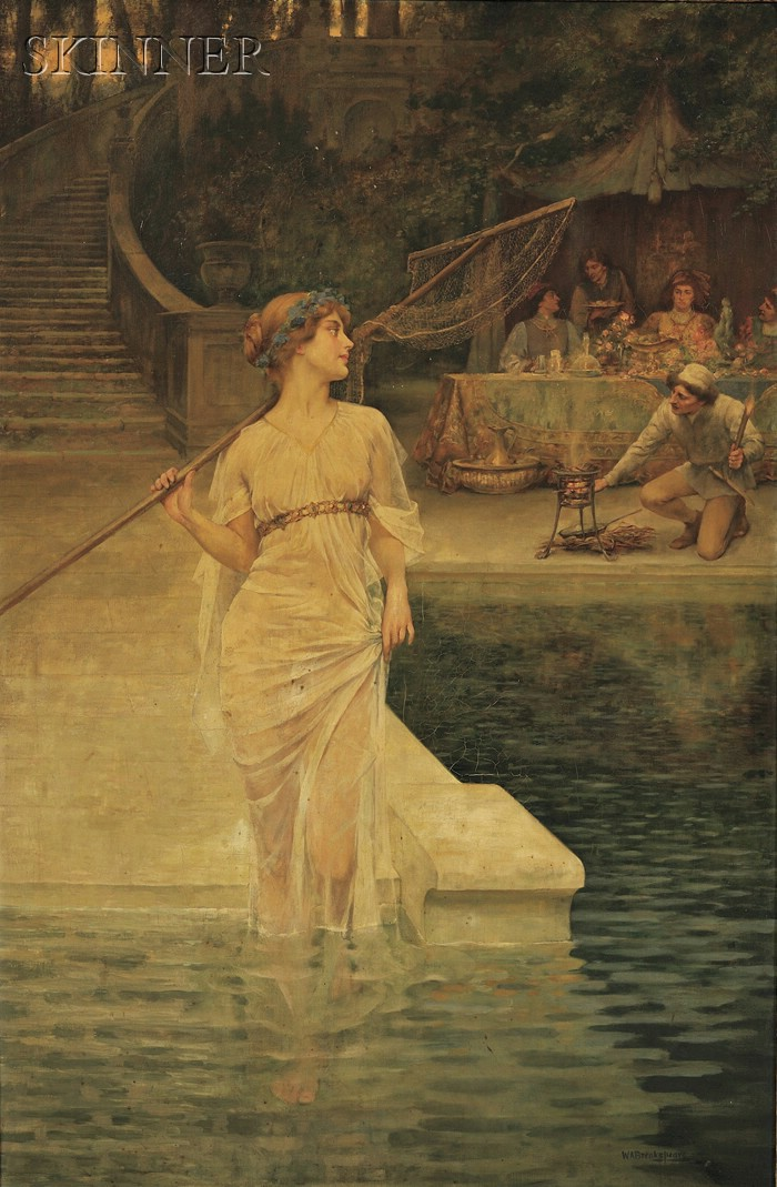 William A. Breakspeare  (British, 1856-1914)      View of  Maidservant Before a Feast