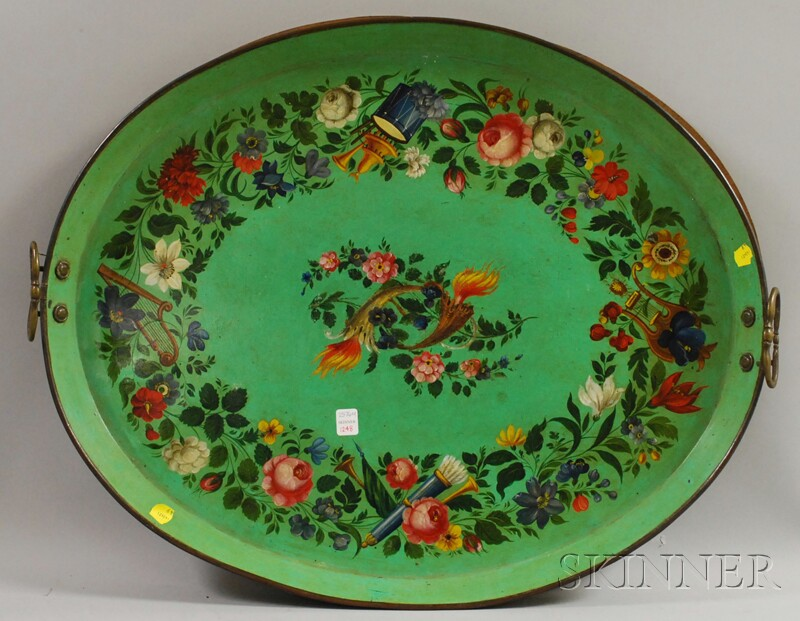 Large Victorian Oval Polychrome Floral-decorated Green-painted Tole Tray with Brass   Handles
