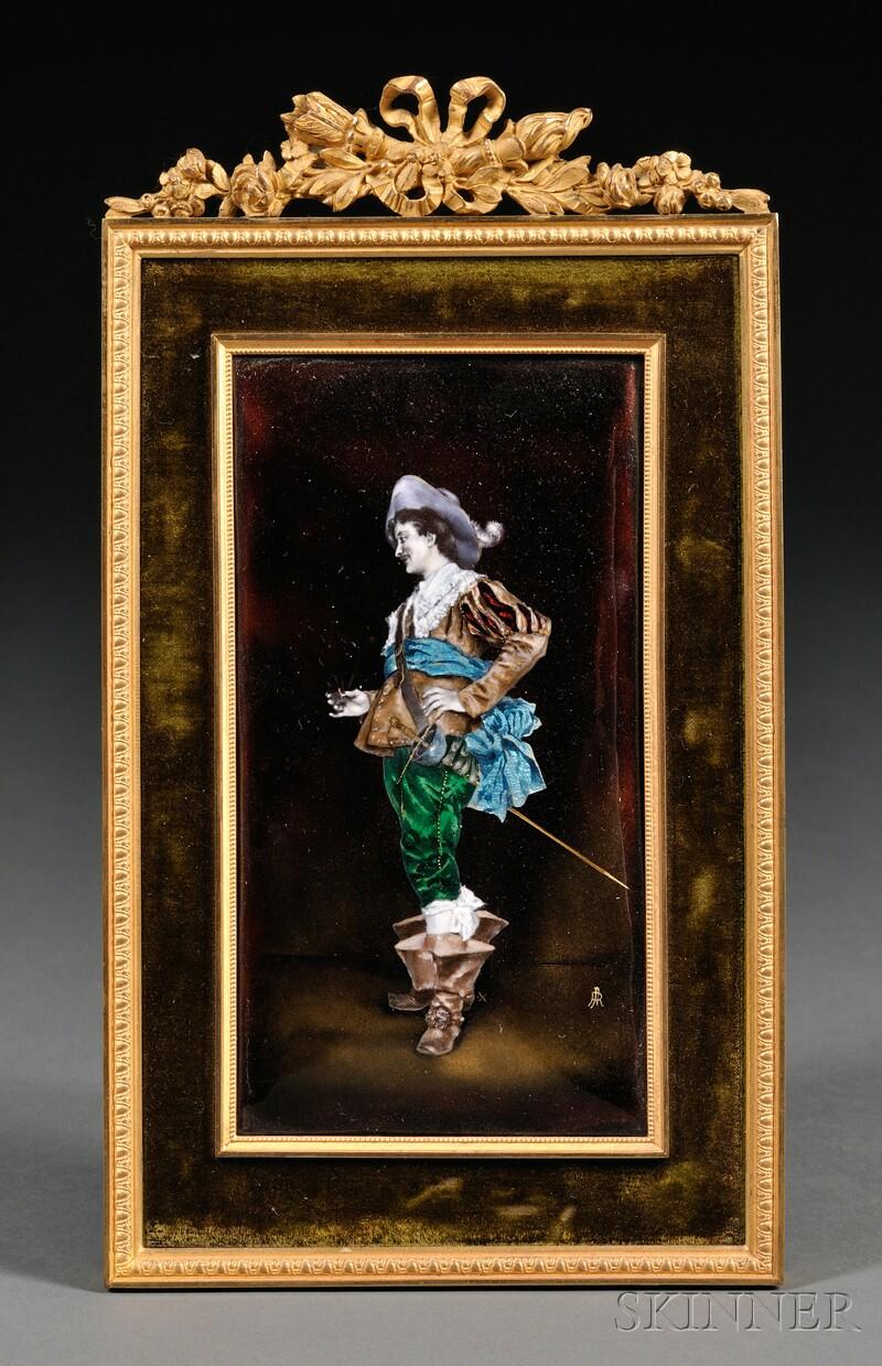 Framed Limoges-style Enamel Plaque