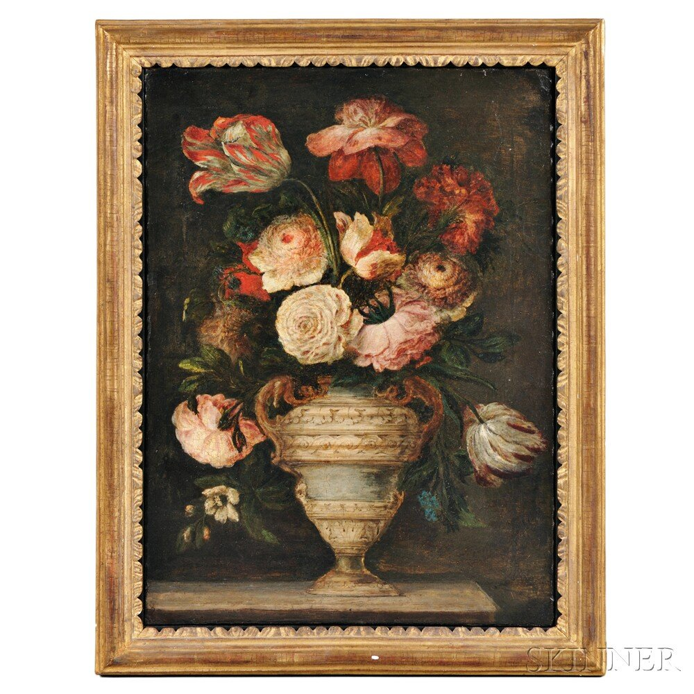 Continental School, 18th Century Style      Still Life with Flowers in an Urn