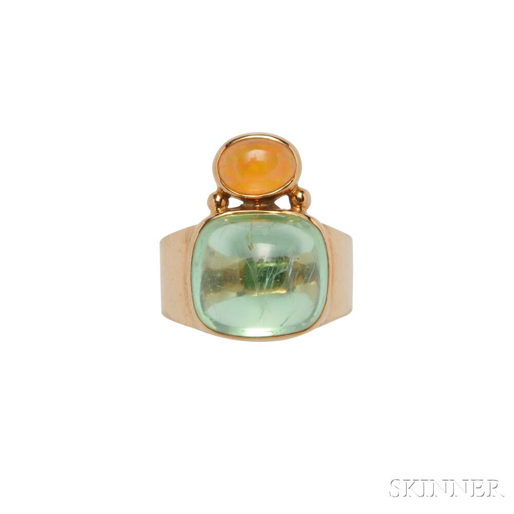 Sarantos 14kt Gold, Tourmaline, and Citrine Ring