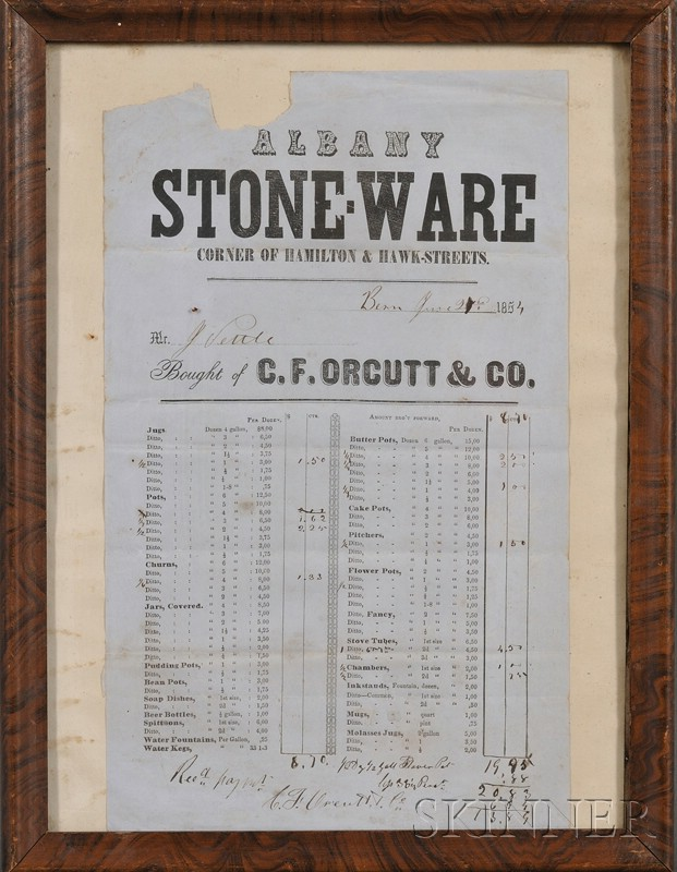 Five Framed Stoneware Manufactory Order Forms