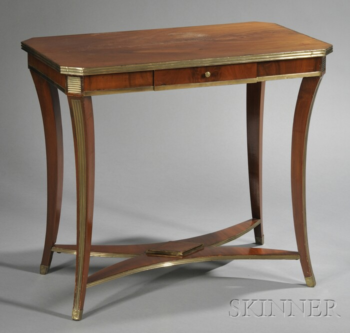 Russian Neoclassical Brass-mounted Mahogany Side Table