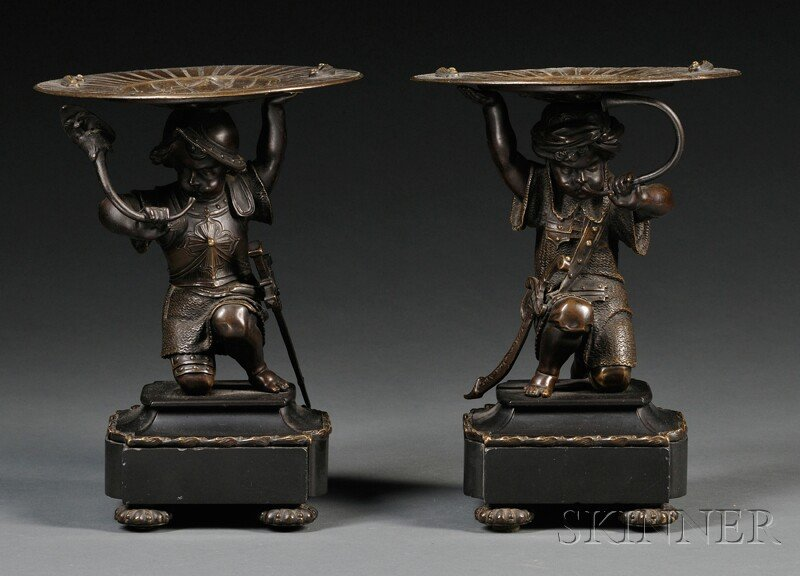 Pair of Figural Bronze Compotes