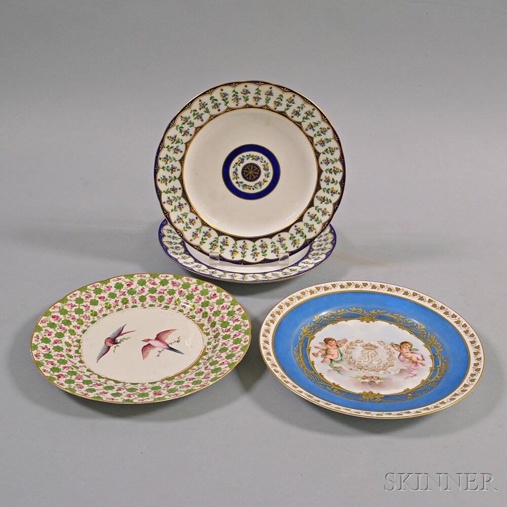 Four Sevres Porcelain Plates