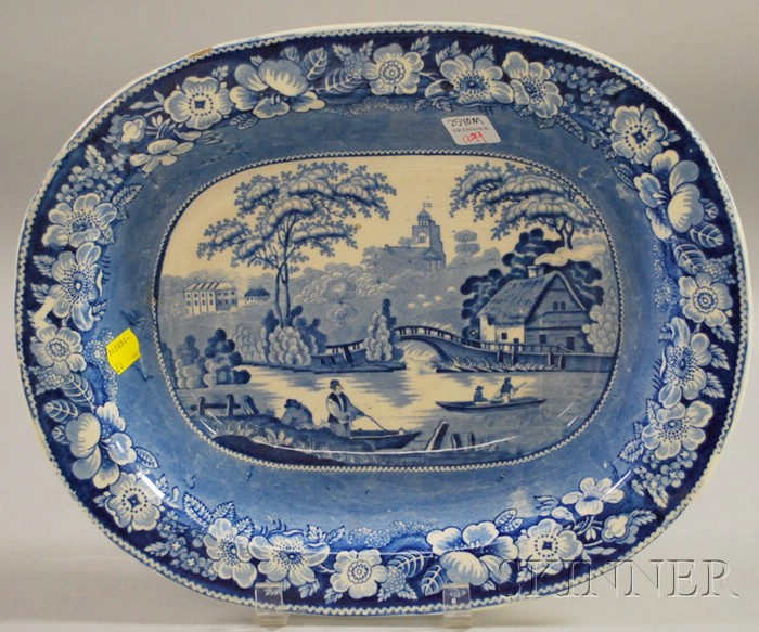 English Blue and White Transfer-decorated Staffordshire Serving Bowl