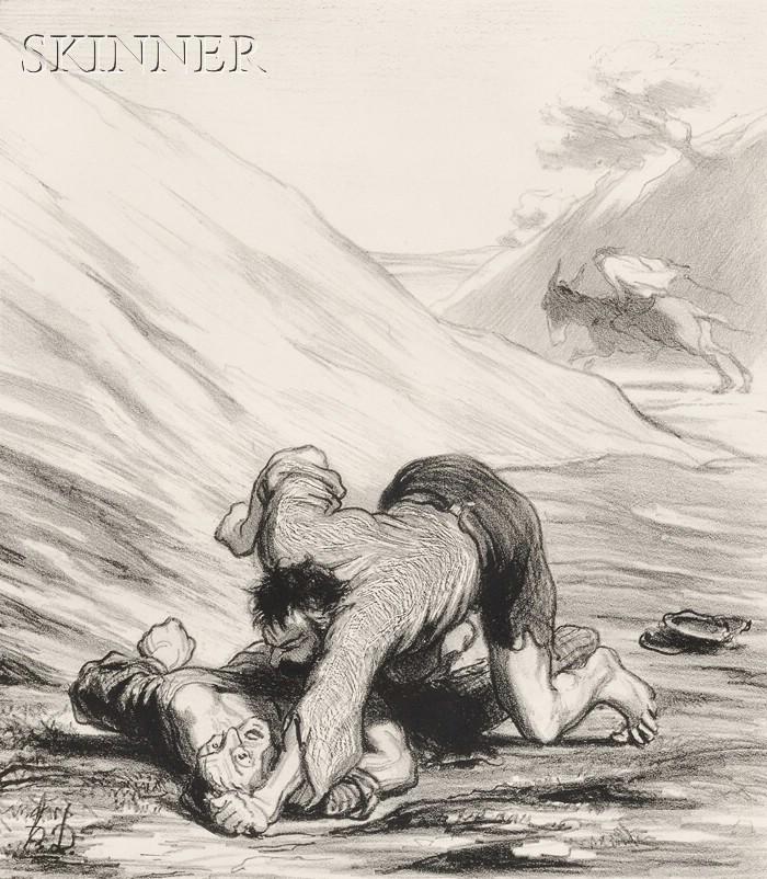 Honoré Daumier (French, 1808-1879)      L'Ane et les deux voleurs