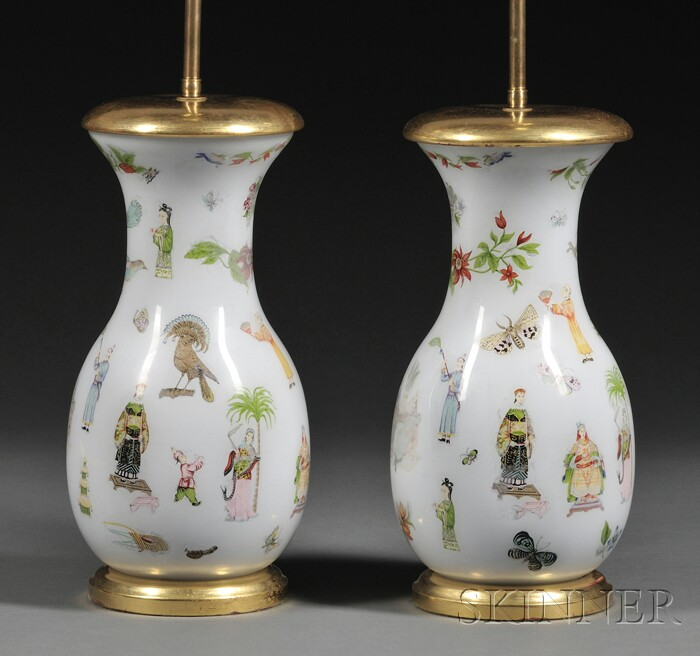Pair of Decoupage on Glass Vases Mounted as Lamps