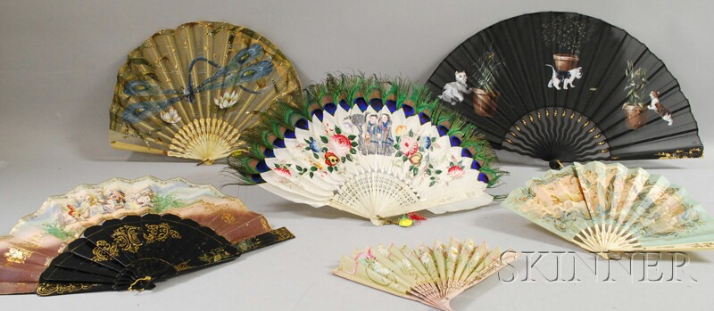 Six European and Chinese Decorated Hand Fans