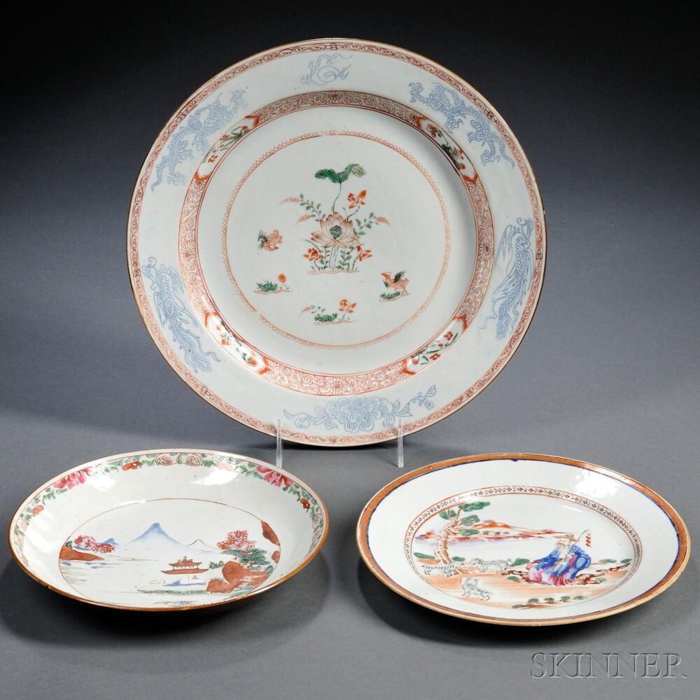 Three Export Porcelain Plates