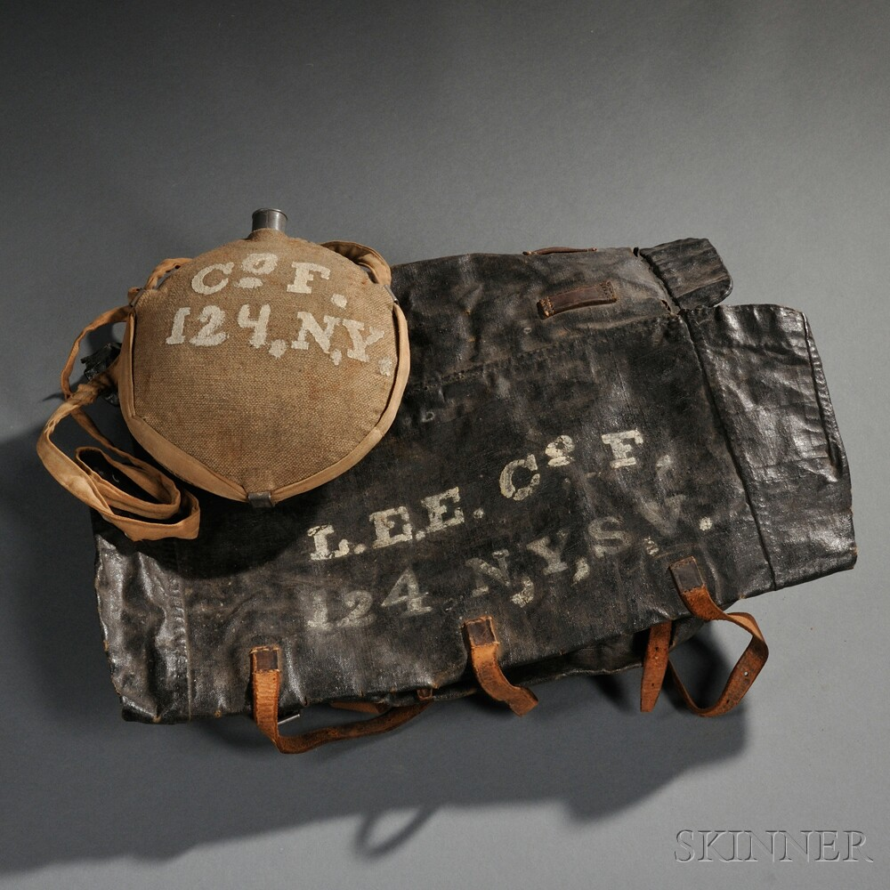 Model 1853/55 Knapsack and Model 1858 Canteen of Lemuel E. Elston, 124th New York Infantry
