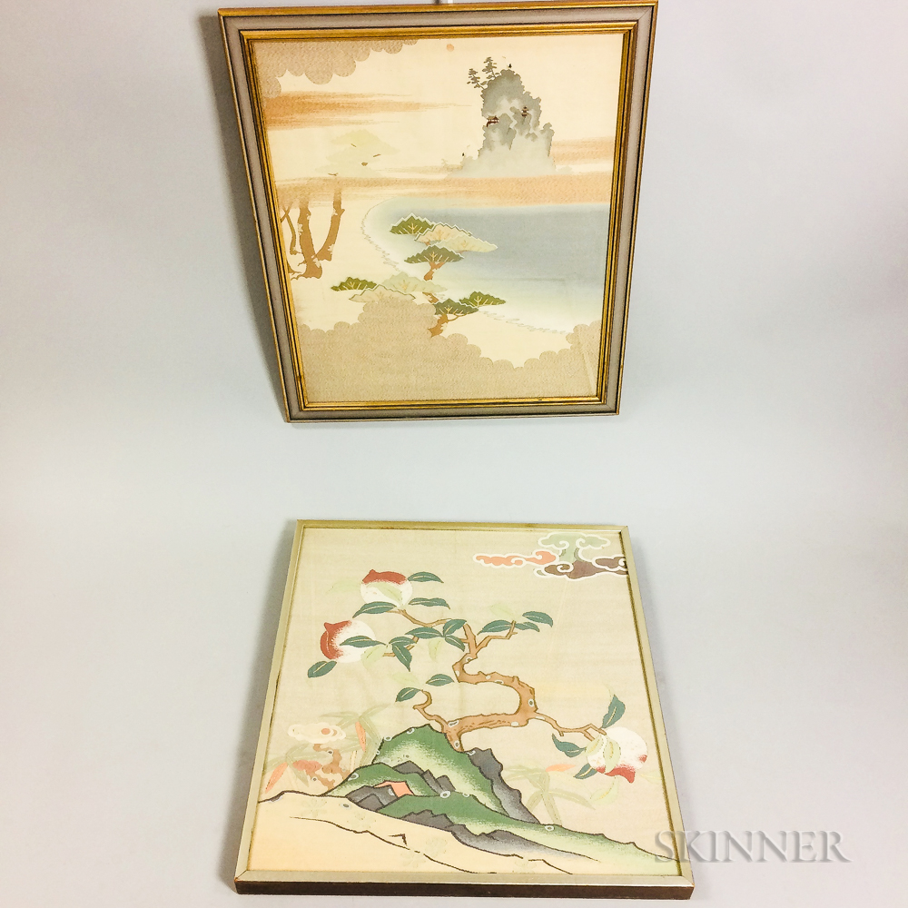 Two Framed Brocade Textiles