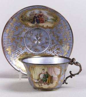 French Enamel Cup and Saucer