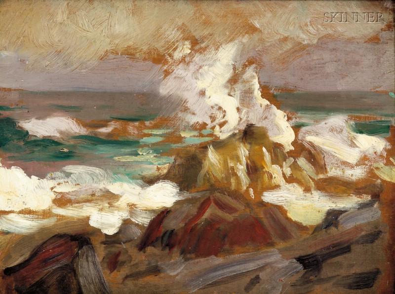 Attributed to Robert (Cozad) Henri (American, 1865-1929)      Crashing Surf, Possibly a View of Monhegan