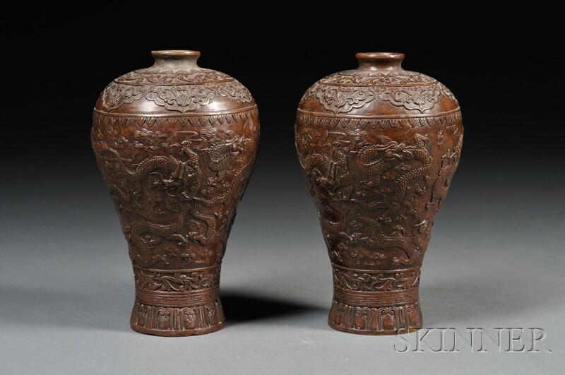 Pair of Bronze Vases