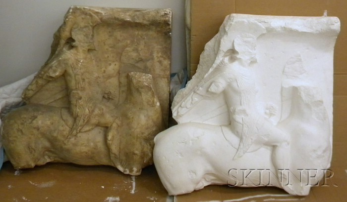 Pair of Classical-style Architectural Cast Plaster Relief Horseman Panel Fragments