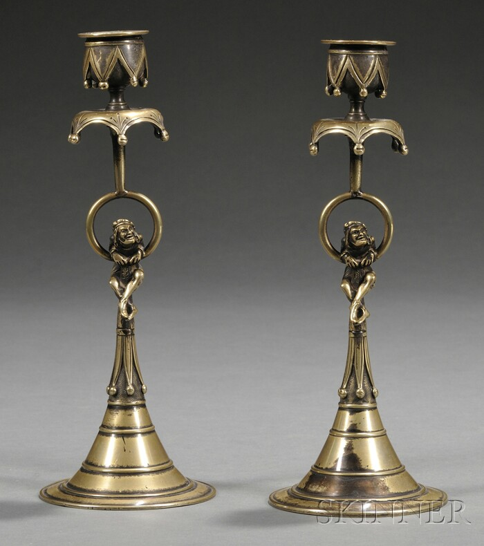 Pair of Brass Candlesticks with Jesters