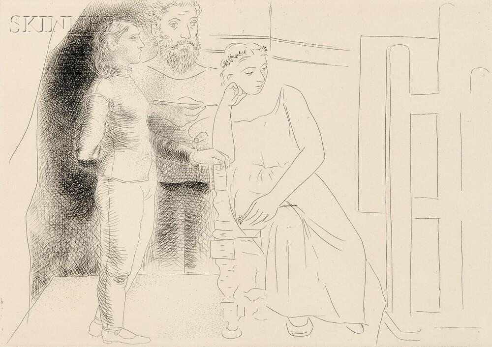 Pablo Picasso (Spanish, 1881-1973)      Peintre entre deux modèles regardant une toile