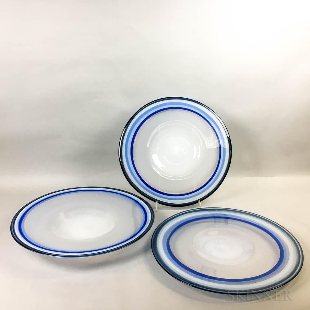Three Annette Meech Studio Art Glass Plates