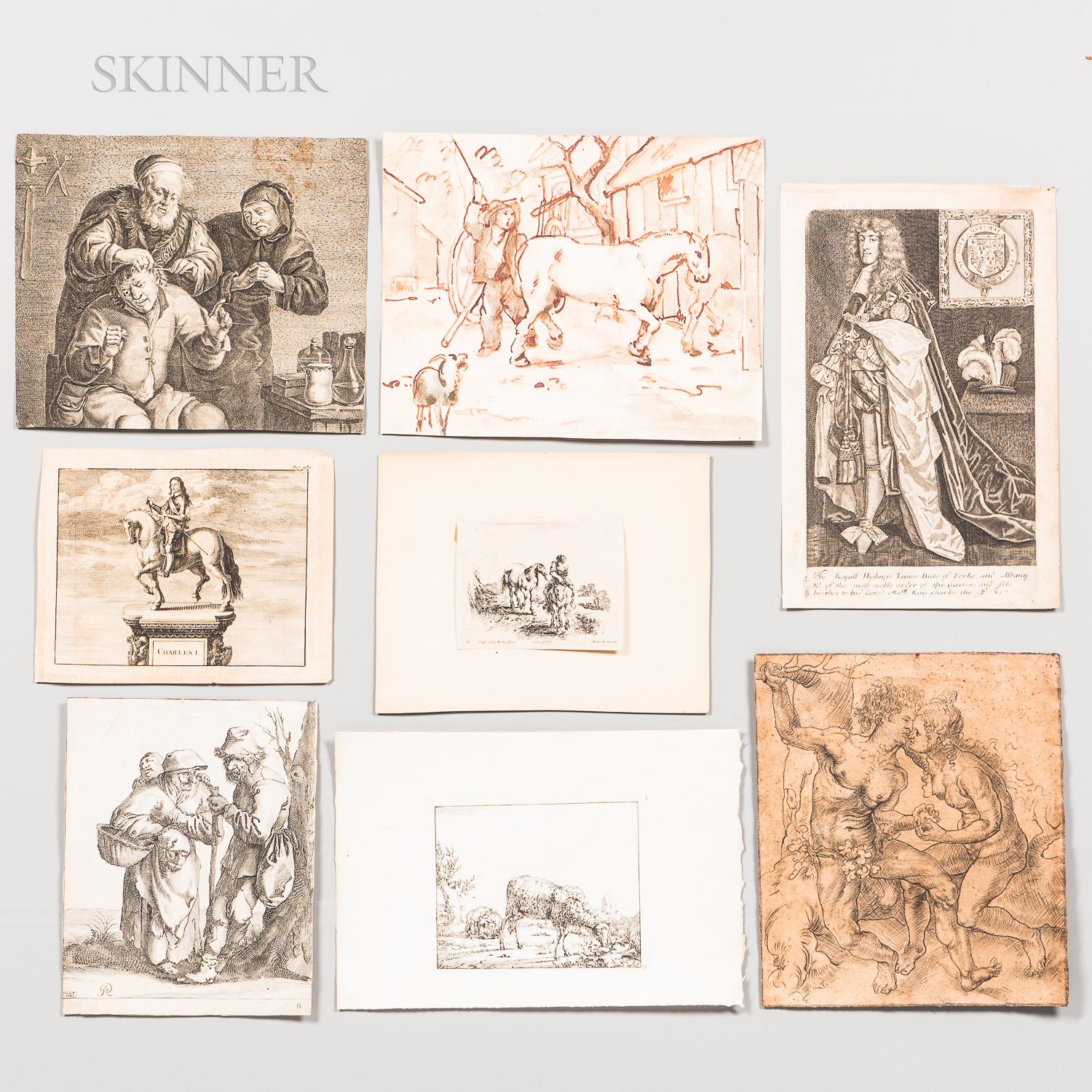 English and Dutch Schools, 17th/18th Century      Album of Twelve Prints and Drawings.