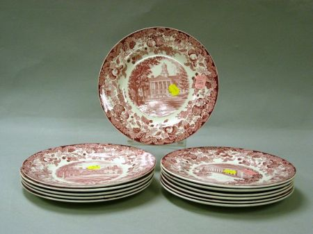 Set of Twelve Wedgwood Red and White 1932 Harvard Decorated Luncheon Plates