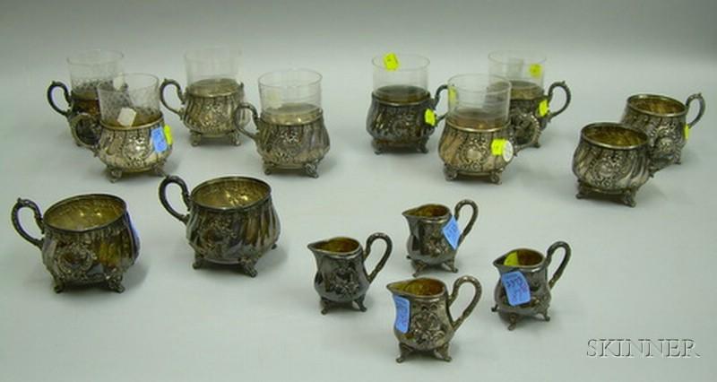 Partial German Rococo Revival Silver Plate Tea Set