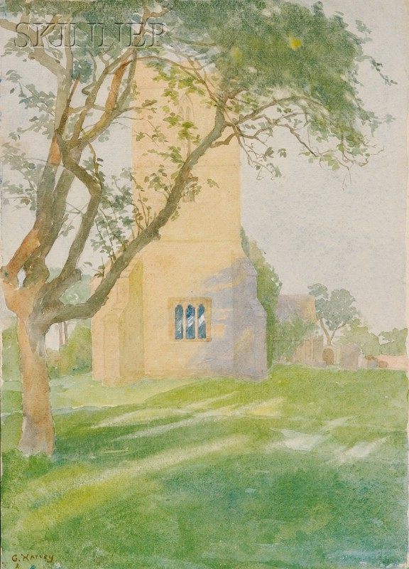 George Harvey (British/American, 1800-1878)      The Parish Church of St. John the Baptist, Wickhamford, Worcestershire, England