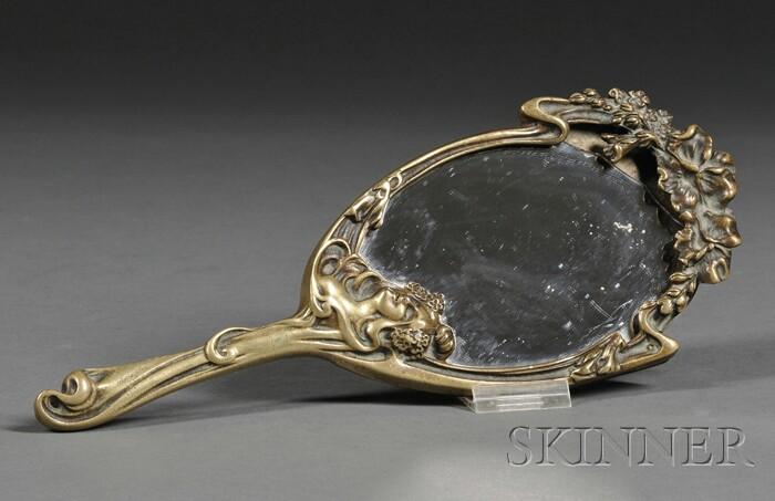 Art Nouveau Gilt-bronze Hand Mirror