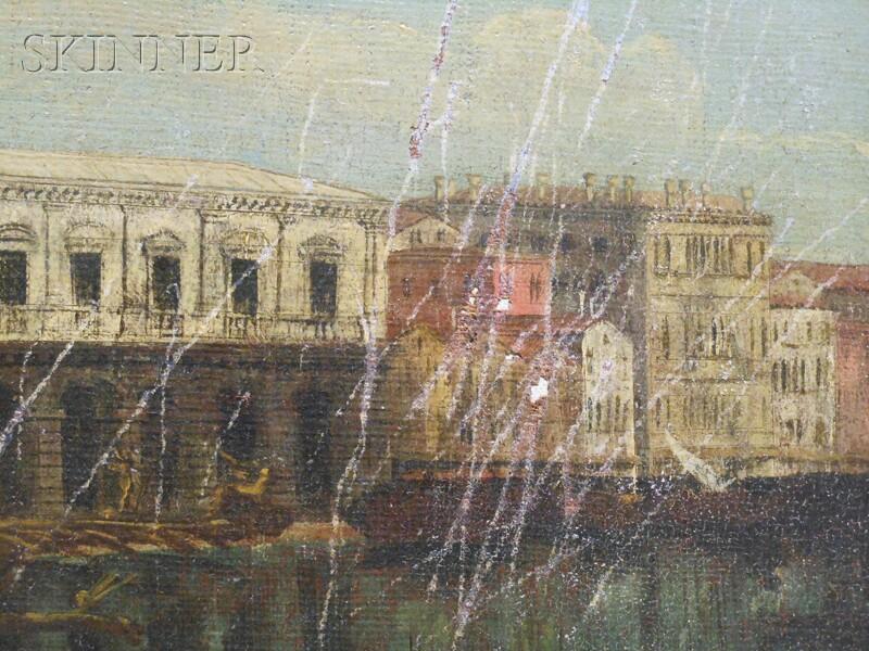 School of Michele Marieschi (Italian, 1696-1743)      The Molo, Venice, from the Bacino di San Marco