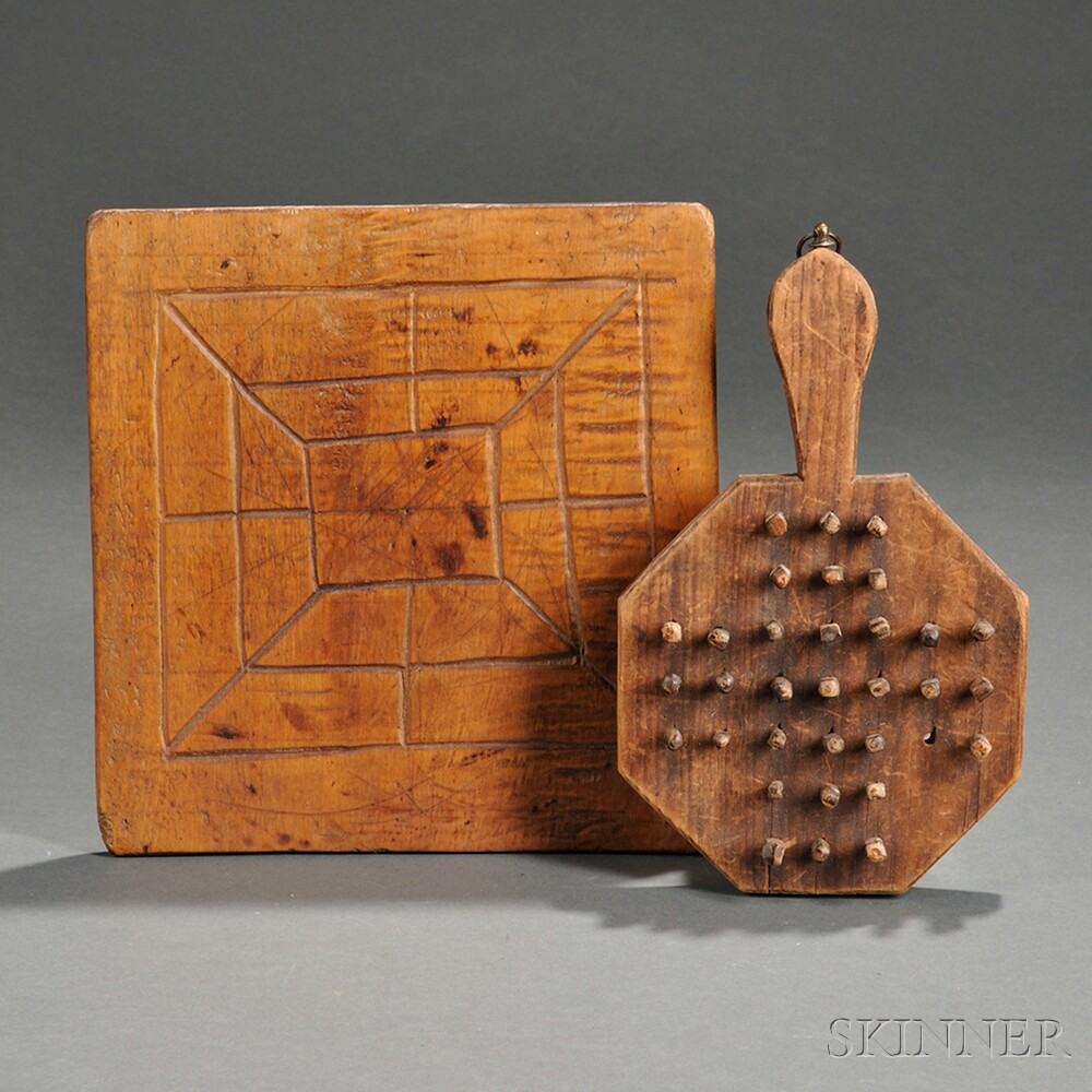Small carved tiger maple mill game board sale number
