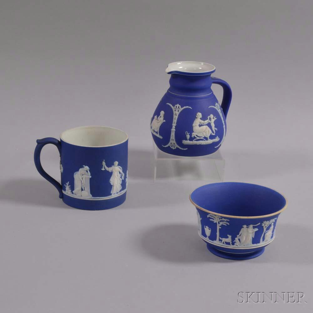 Three Wedgwood Blue Jasper Items