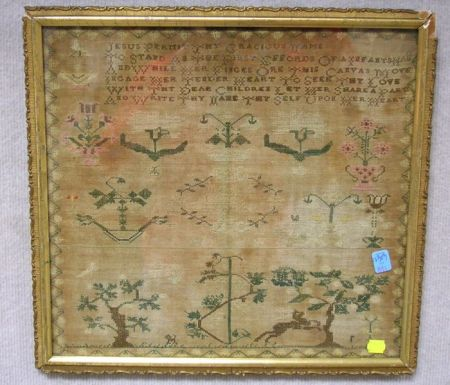 Framed Early 19th Century Needlework Sampler.