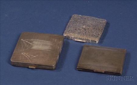 Three Silver Compacts/Cigarette Cases