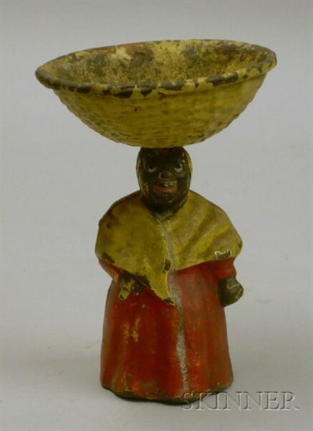 Painted Cast Iron Mammy Figure with Basket