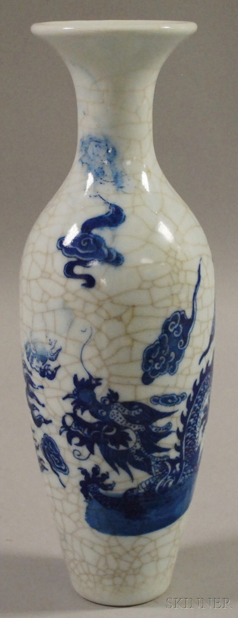 Asian Blue and White Crackle Glazed Ceramic Vase