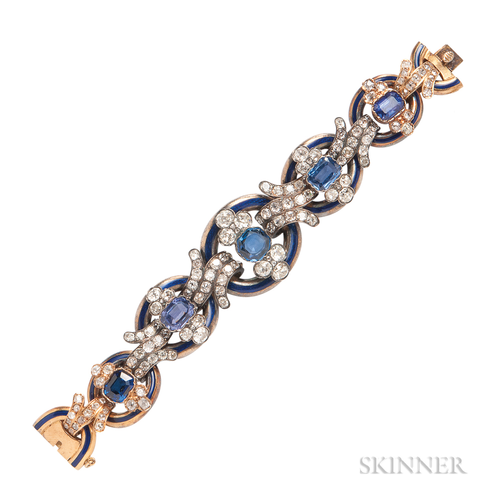 Antique Gold, Enamel, and Diamond Bracelet