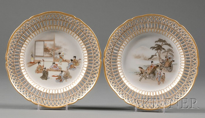 Pair of Japanese Decorated KPM Porcelain Fruit Plates