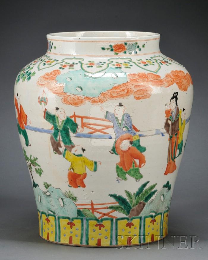 Large Famille Verte Jar