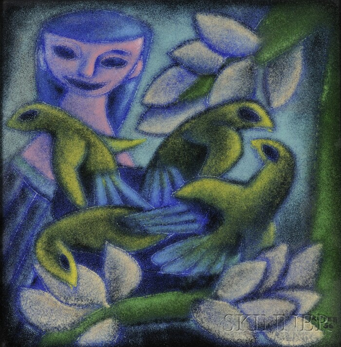 Trippetti Girl with Birds Enamel Plaque