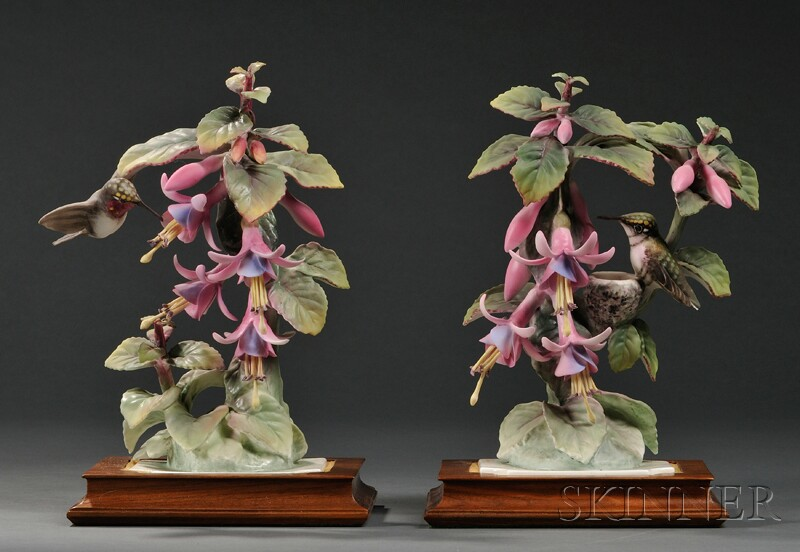 Pair of Dorothy Doughty for Royal Worcester Bone China Ruby-throated Humming Birds