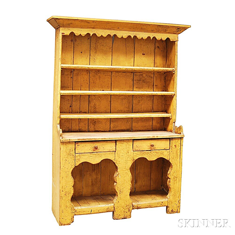 Yellow-painted Pine Cupboard