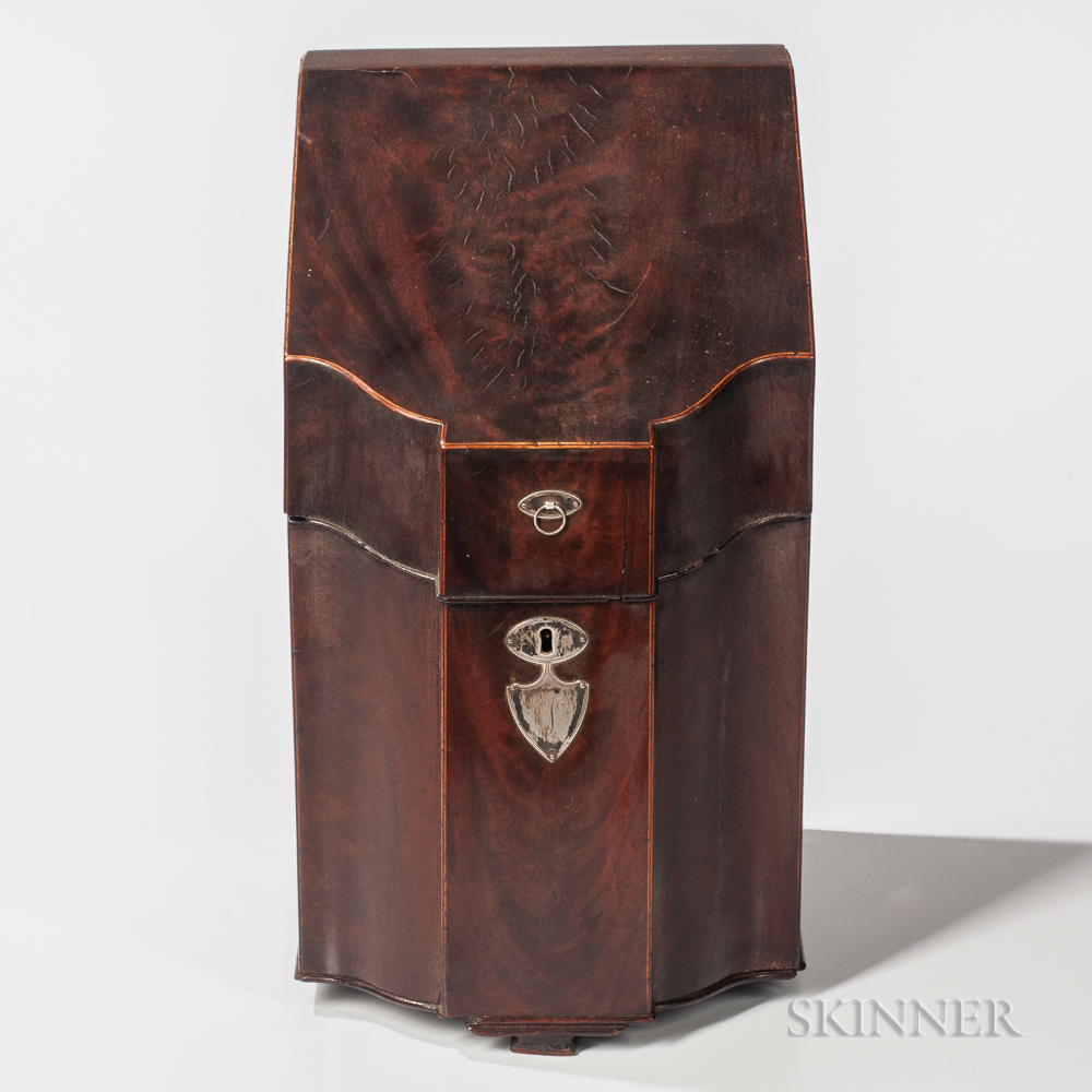 Silver-mounted Mahogany Veneer Knife Box