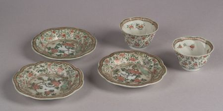 Pair of Famille Verte Cups and Saucers