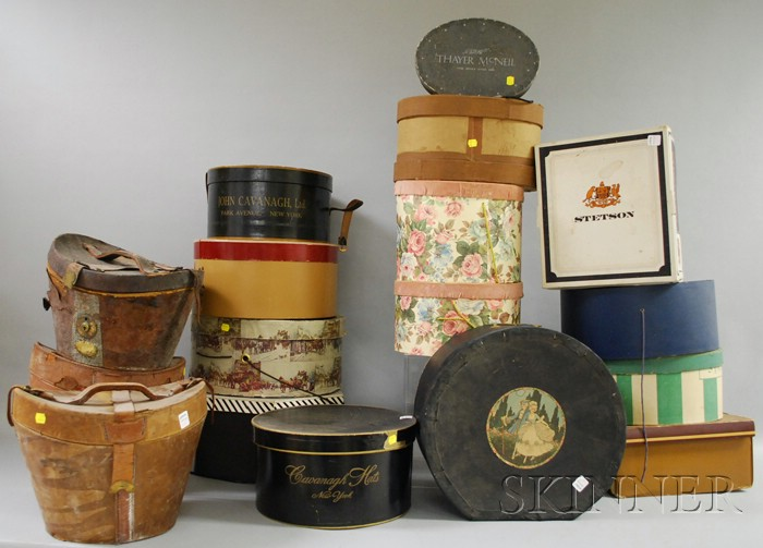 Large Group of Vintage Hats and Hat Boxes.