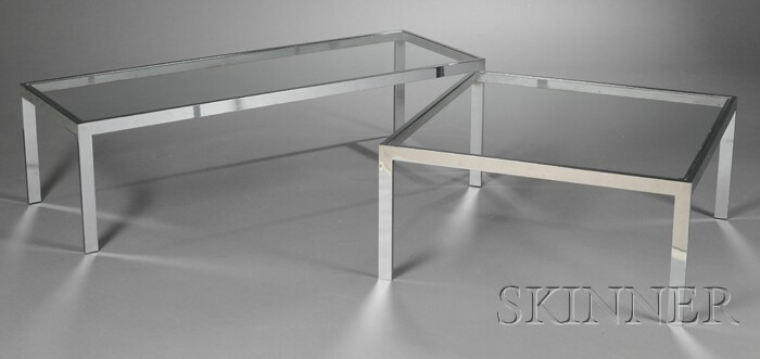 Two Mid-century Chromed Steel and Glass Coffee Tables
