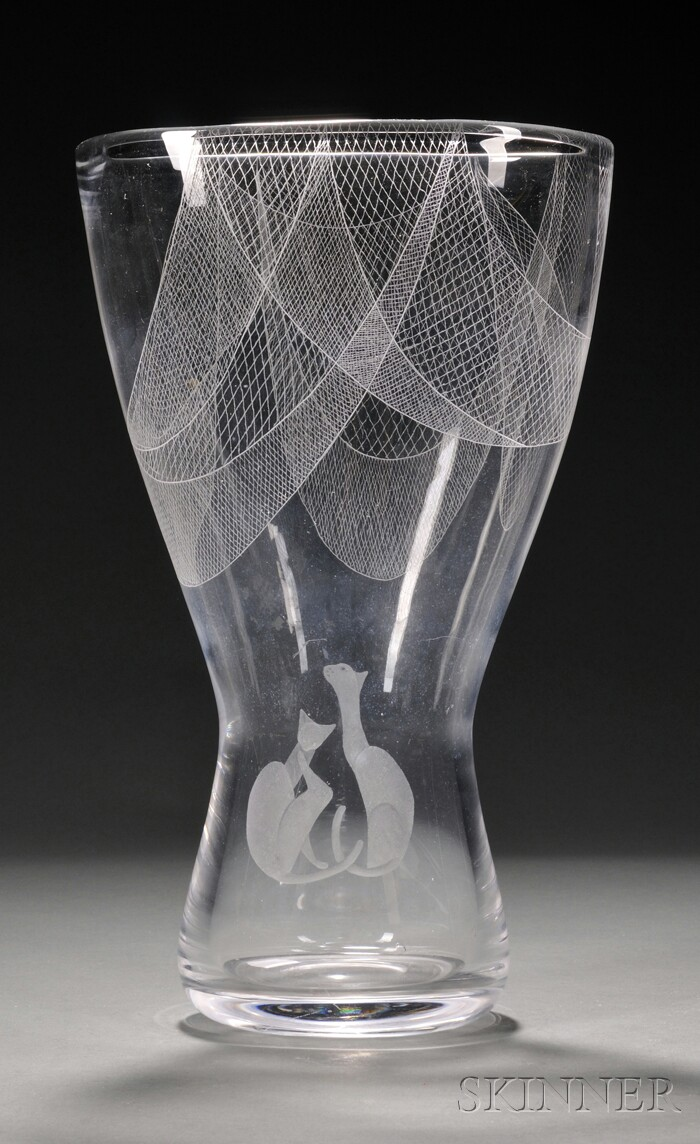 Kosta Vase with Siamese Cat Engraving
